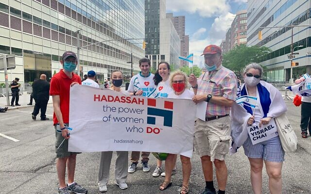 Hadassah CEO Janice Weinman (second from left) and Hadassah supporters at the Rally for Israel at the World Trade Center in New York City on Sunday, May 23. (Courtesy)