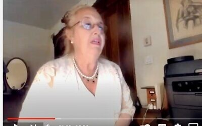 Manhattan Borough President Gale  Brewer, running for City Council on the Upper West Side, speaks at a virtual candidates' forum sponsored by The Jewish Center and other synagogues, May 27, 2021. (YouTube)