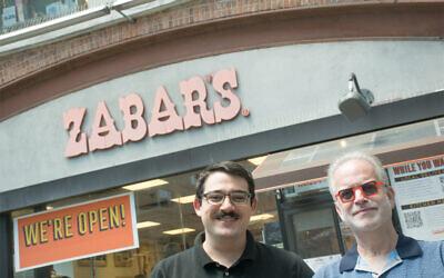Willie Zabar, left and Zabar's general manager Scott Goldshine outside the appetizing landmark on the Upper West Side. Willie is hosting a podcast about all things Zabar's. (David Zabar)