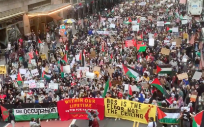A pro-Palestinian protest in midtown Manhattan started at the Israeli Consulate and proceeded to Times Square, May 11, 2021. (Screen capture/Twitter, via Times of Israel)