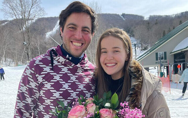 Nick Hakimi proposed to Lital Hirsch  at the summit of Jiminy Peak, a ski resort in western Massachusetts. (Cindy Rahmanan)