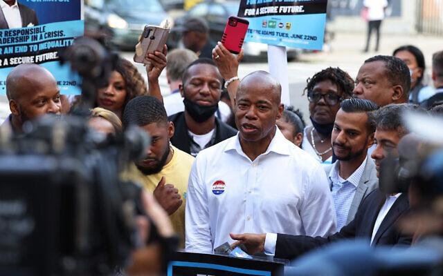 New York City mayoral candidate and Brooklyn Borough President Eric Adams speaks after voting in Brooklyn's Bedford-Stuyvesant neighborhood, June 22, 2021. (Michael M. Santiago/Getty Images)
