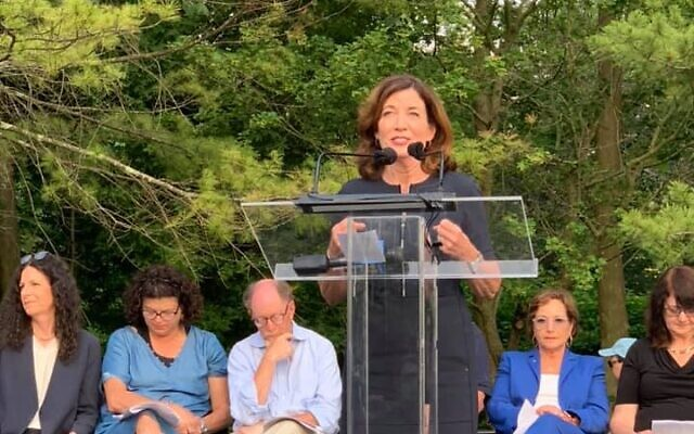 UNITED AGAINST HATE: Lt. Gov. Kathy Hochul speaks at a rally against antisemitism and hate at the Jewish Community Center of Mid-Westchester in Scarsdale, June 7, 2021. Hundreds attended the rally. (Facebook)