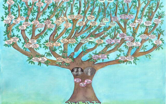 A family tree ketubah, or Jewish wedding contract, created by artist Miriam Karp. (customketubah.com)