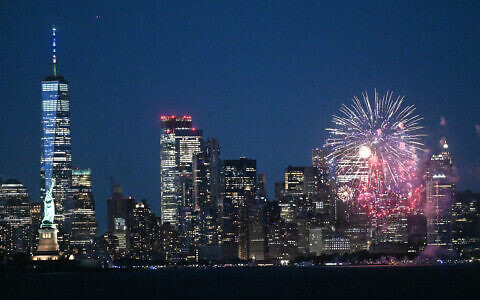 A fireworks display in Manhattan celebrates the 70% adult vaccination milestone, as Gov. Cuomo lifted most COVID restrictions, June 15, 2021. Twitter)
