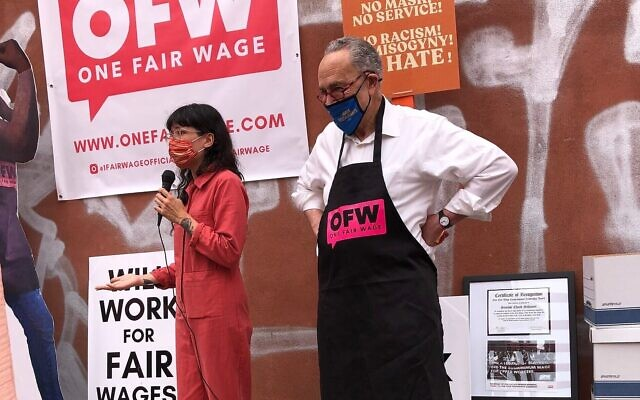 Senate Majority Leader Chuck Schumer served a shift at Hunky Dory, a restaurant in Brooklyn, during a rally for One Fair Wage, an organization dedicated to raising the minimum wage, June 6, 2021. (Twitter)