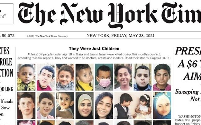 The May 28, 2021 front page of The New York Times included portraits of children, mostly Palestinian, killed in the latest fighting between Israel and Hamas.