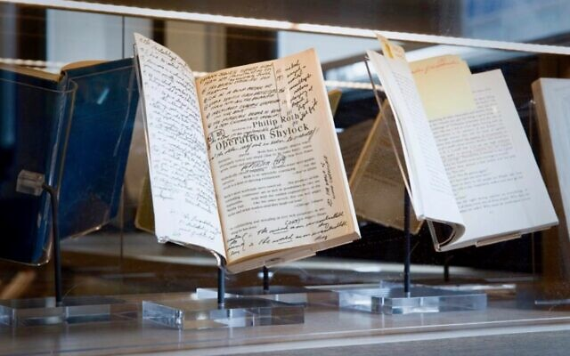 """A galley of Philip Roth's novel """"Operation Shylock,"""" with the author's hand-written notations, is on display at the Newark Public Library. In 2016, Roth announced he was leaving his personal collection of 7,000 books, from his Manhattan and Connecticut homes, to the library. (Newark Public Library)"""