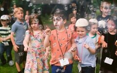 Children attend the first Limmud FSU conference in North America since 2019, held at a conference center in Briarcliff Manor, N.Y., on June 13, 2021. (Yuliya Levit)