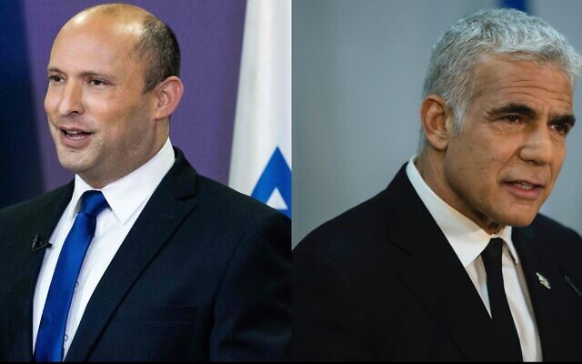 Naftali Bennett, left, would be Israel's next prime minister, to be succeeded by Yair Lapid, right, in a coalition deal that would oust Benjamin Netanyahu. (Yonatan Sindel/AFP via Getty Images and Amir Levy/Getty Images)