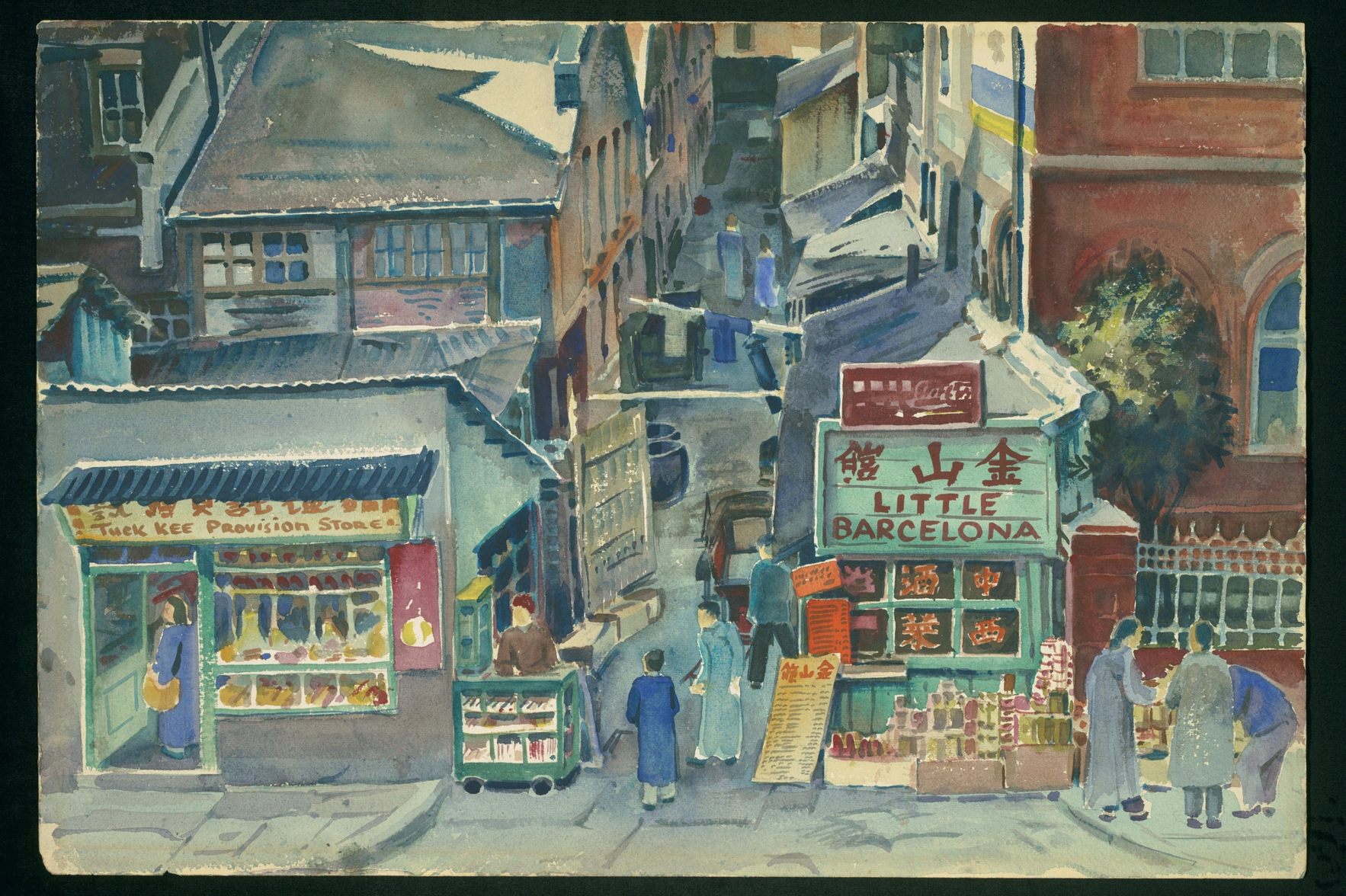 """David Ludwig Bloch, """"Shanghai, Street Scene, 1949"""", watercolor on paper. LBI Art & Objects Collection, 83.154."""