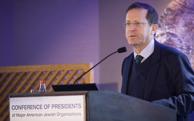 Jewish Agency Chairman Isaac Herzog speaks at the Conference of Presidents of Major American Jewish Organizations' leadership meeting in Jerusalem, Feb. 18, 2019. (Hadas Parush/Flash90)
