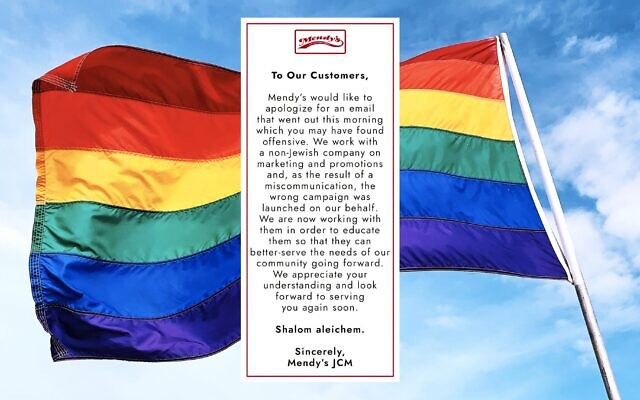After an email offering discounts to those who support the LGBTQ community was sent out in its name, Mendy's deli in Crown Heights apologized to its customers. (Screenshot via JTA)