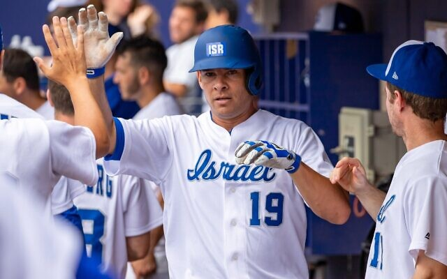 Israel's Olympic baseball team continued its warm-up tour of the northeast with a 16-2 win Thursday over the Ocean State Waves in Hartford, Conn. Danny Valencia, above, homered twice. The team is in Harrisburg, Penn., today to play the Cal Ripken Collegiate Baseball League All-Star Team. (Team IsraelTwitter)