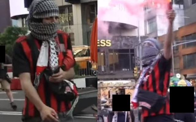 The NYPD released these surveillance photos of a man suspected of throwing incendiary devices at Jewish passers-by in midtown on May 20. The Hate Crimes task force announced his arrest on Wednesday. (NYPD)