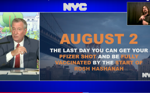 Mayor Bill de Blasio encouraged New Yorkers to get a coronavirus vaccine by Monday — in time to be fully vaccinated by Rosh Hashana. (Screenshot from YouTube)