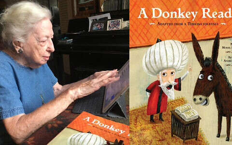 """Muriel Mandell works at her iPad at her apartment in Greenwich Village. After a career as a reporter and school teacher, she began writing children's books, including """"A Donkey Reads,"""" right. (Lori Silverman Brauner)"""