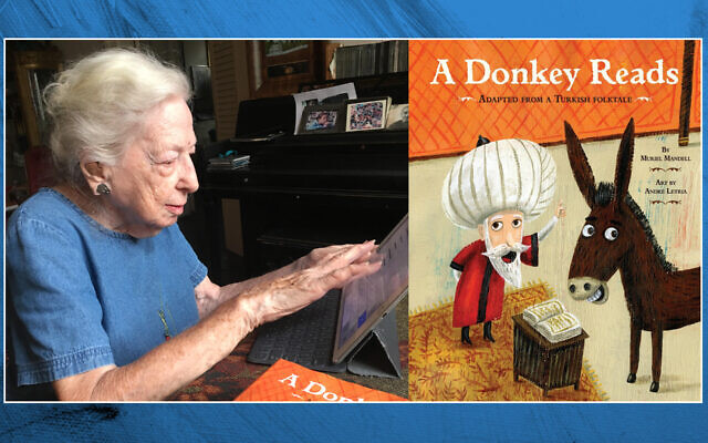 """Muriel Mandell works at her iPad at her apartment in Greenwich Village. After a career as a reporter and school teacher, she began writing children's books, including """"A Donkey Reads,"""" right. (Lori Silberman Brauner)"""