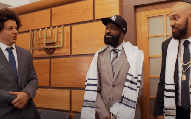 """From left: Comedian Eric Andre, Desus Nice and The Kid Mero are seen in The Village Temple in New York City during an episode of """"Desus & Mero."""" (Screenshot from YouTube)"""