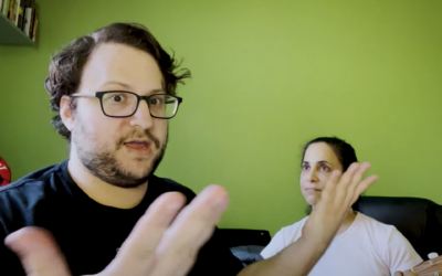 """Avishai Weinberger, left, and his mother Naomi Weinberger perform """"The Anti-Vaxxer's Lament,"""" written by Michal Schick, in a video posted to YouTube. (Screenshot)"""