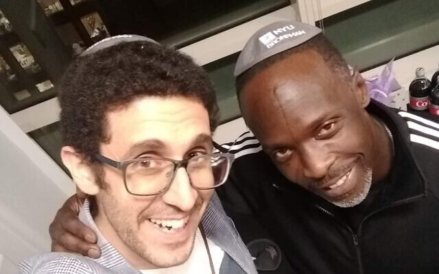 """Rabbi Joe Wolfson, left, and Michael K. Williams brought the actor's prison documentary, """"Raised in the System,"""" to NYU's Bronfman Center in 2019. (Courtesy of Wolfson)"""