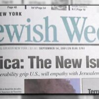 The Jewish Week's front page on Sept. 14, 2001.