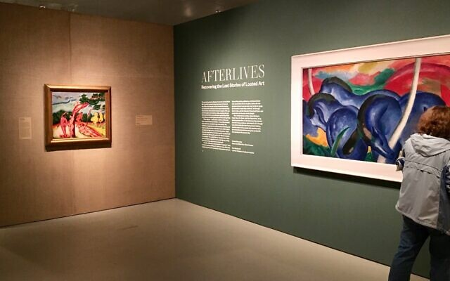 """""""Afterlives: Recovering the Lost Stories of Looted Art,"""" an exhibition about art andcultural property stolen by the Nazi, runs at the Jewish Museum through Jan. 9, 2022. (Jewish Week)"""