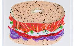 "Artist Sam Sidney's felt illustration of a bagel is part of her exhibit at Eerdmans New York Gallery in Manhattan, ""New York Never Felt So Good."" (Courtesy Eerdmans New York)"