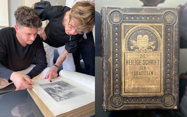 Jacob Leiter and his grandmother, Susi Kasper Leiter, examine an heirloom Bible that had been hidden by family members during the Holocaust, June 9, 2021. (USHMM)