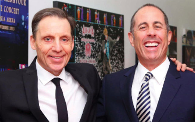 Jerry Seinfeld with his old friend and fellow comedian Mark Schiff. Courtesy mark Schiff