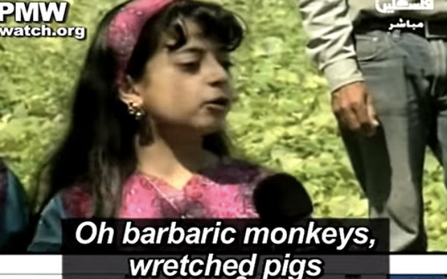 "A young Palestinian girl calls Jews ""barbaric monkeys, wretched pigs"" on Palestinian Authority TV."
