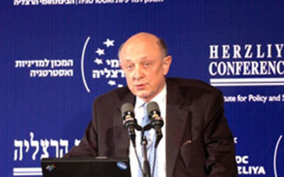 Former CIA director James Woolsey speaking at the Herzliya Conference in Israel, Jan. 22, 2007. (Herzliya Conference)