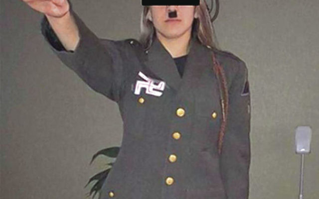 A Jackson teenager identified as the daughter of a state police sergeant dresses as Adolf Hitler and gives a Nazi salute. Photos courtesy Anti-Defamation League