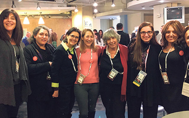 Rabbi Lisa Malik of Temple Beth Ahm in Aberdeen, third from right, is flanked by members of the synagogue delegation at the Jewish Federation in the Heart of NJ reception held at the AIPAC Policy Conference.