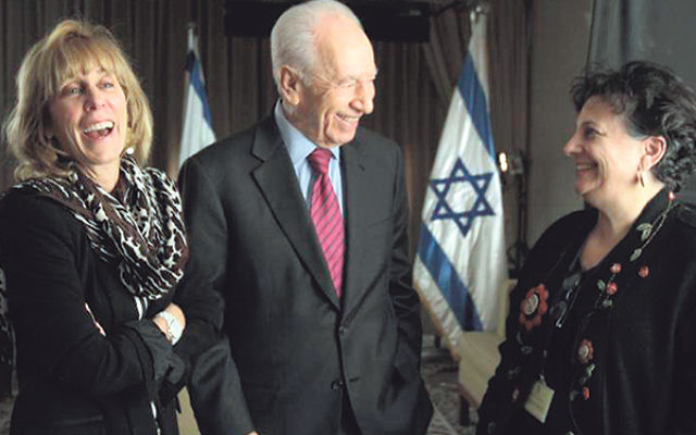 Israeli President Shimon Peres at his interview with Nancy Spielberg and Roberta Grossman.