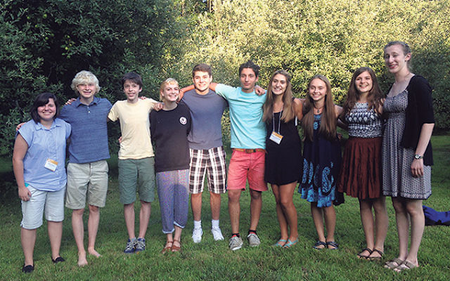 Isabel Levine of Montclair, third from right, with some friends at the National Yiddish Book Center's Great Jewish Books program on the campus of Hampshire College last summer.