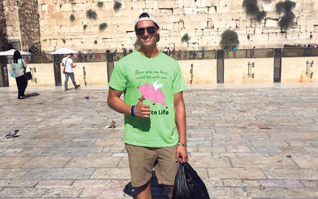 Alex Babcock wearing his Team Luke T-shirt at the Kotel in Jerusalem.