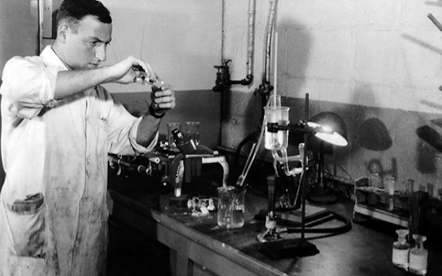 Alina at work in the laboratory at Seton Hall University, 1955.