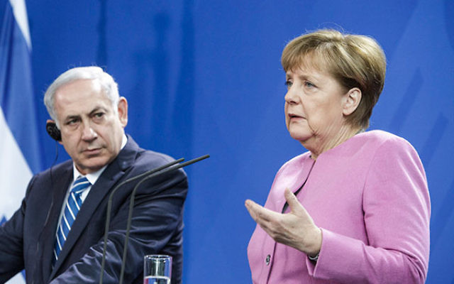 German Chancellor Angela Merkel and Israeli Prime Minister Benjamin Netanyahu attending a press conference at the Chancellery following the 6th German-Israeli government consultations in Berlin, Germany, Feb. 16, 2016. (Carsten Koall/Getty Images)