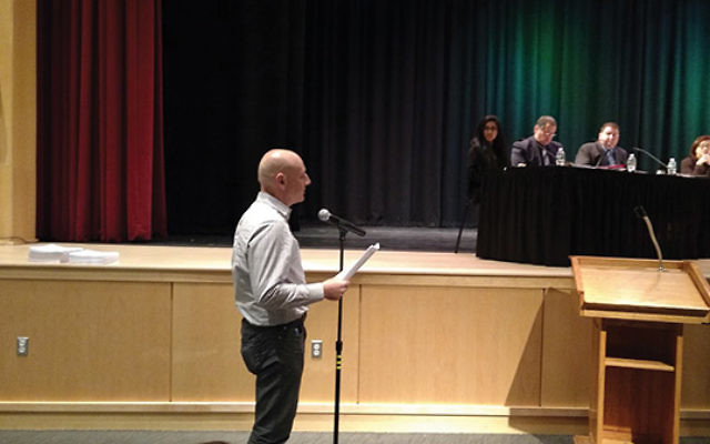 Jon Dressner testifies before the May 11 meeting of the East Brunswick Board of Education about anti-Semitic and other bias incidents occurring in the public schools. Photo by Debra Rubin
