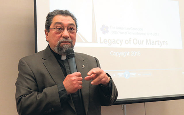 "Father Arshen Aivazian, who retired as pastor of Saint Mary Armenian Church in Livingston, said nobody can deny the Armenian genocide because, as with the Holocaust, ""the evidence and eyewitnesses are too vast to deny."""