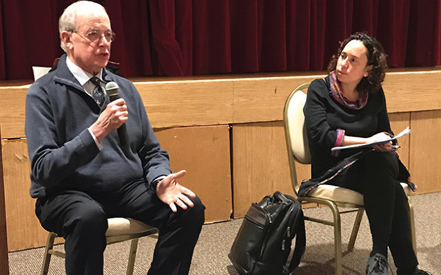 Prof. Harold Shapiro and Rabbi Julie Roth field questions during a Nov. 28 discussion about end-of-life situations held at The Jewish Center in Princeton. Photo by Michele Alperin