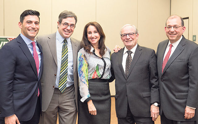 """The panelists at a program on """"Thoughtful Investing in the Age of BDS"""" were, from left, Tyler Reiff, Steven Schoenfeld, Sandra Weiss, Izzy Tapoohi, and moderator Jay Kaplan."""