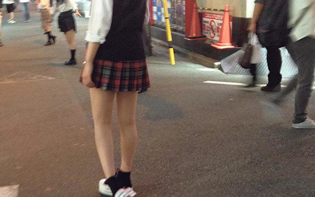 "Schoolgirls on the streets in Akihabara, a hub for human trafficking. Engaging in ""joshi kosei osanpro,"" ""high school girls walking dates,"" is considered a gateway to human trafficking."