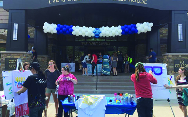 """Rutgers remains a place where """"we can walk around openly and proudly as Jews,"""" said Paulee Manich, president of Rutgers Hillel. Pictured is a Yom Ha'Atzmaut celebration in front of the Hillel building. Photo courtesy Rutgers Hillel"""