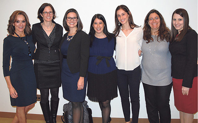 Panelists at the Congregation B'nai Jeshurun seminar on cancer, from left, Dr. Nancy Simpkins, Dr. Susan Domchek, social worker and genetic counselor Amanda Brandt, and congregant Daniele Nodelman, gather with event cochairs Michele Kaplan and Debbi