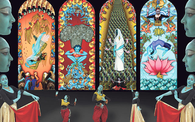 Siona Benjamin's The Four Mothers Who Entered Pardes, one of six hand-printed silk banners, each 6 feet by 3 feet
