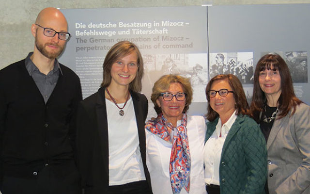 "Claire Boren, center, at the Topography of Terror museum exhibit ""Mass Shootings: The Holocaust from the Baltic to the Black Sea 1941-1944"" with, from left, exhibit curators Christian Schmittwilken and Paula Oppermann; Chhange executive direct"