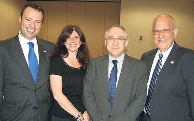 Amir Sagie, second from right, the new deputy consul general of the Israeli consulate in New York, was welcomed at a meeting of the Greater MetroWest Community Relations Committee by GMW federation CEO Dov Ben-Shimon, left, CRC director Melanie Gorelick,