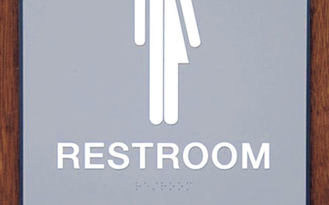 The family bathroom at Camp JRF was easily converted with a sign to make everyone feel comfortable.
